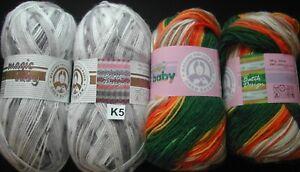 5 x 100g Madame Tricote Favori Batik Aran Knitting Wool//Yarn Green Orange