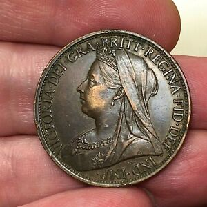 1896-Great-Britain-Penny-Victoria-KM-790-Super-Extra-Nice-Antique-Bronze-Coin