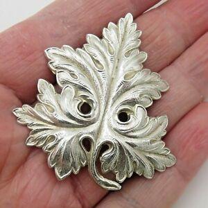 Vintage-Antique-925-Sterling-Silver-Leaf-Brooch-Pin-9g-C-Clasp