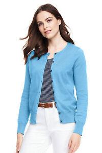 06d09b90a9c4 Lands End Women's Supima Crew Cotton Cardigan Sweater Blue Quartz ...