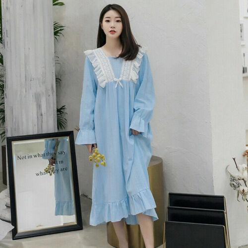 Lady Cotton Sleep Night Dress Sleepwear Nightgown Pajamas Long Sleeve Loose Cute