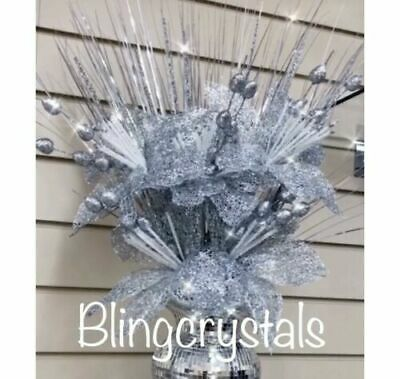 Artificial Bunch Of Silver Glitter Flowers silver Romany Bling