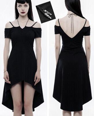 Robe asymétrique gothique lolita mode traîne burlesque collier dos nu PunkRave