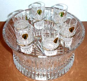 Waterford-Lismore-Diamond-Crystal-Vodka-Chill-Bowl-amp-6-Shot-Glasses-156508-New