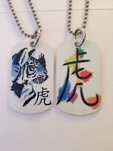 Keychain  FREE SHIPPING! Chinese Year of Tiger Zodiac 2-Sided Dog Tag Necklace