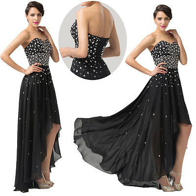 BLACK Beaded Prom Bridesmaid Homecoming Party Wedding Evening Gown Long Dresses
