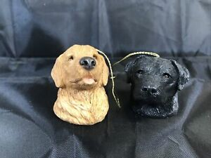 Lot-Of-2-Vintage-Sandicast-Ornaments-X24-Golden-Retriever-amp-Black-Lab-By-S-Brue
