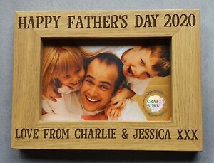 HAPPY-FATHER-039-S-DAY-ENGRAVED-PHOTO-FRAME-PERSONALISED-WITH-WITHOUT-YEAR