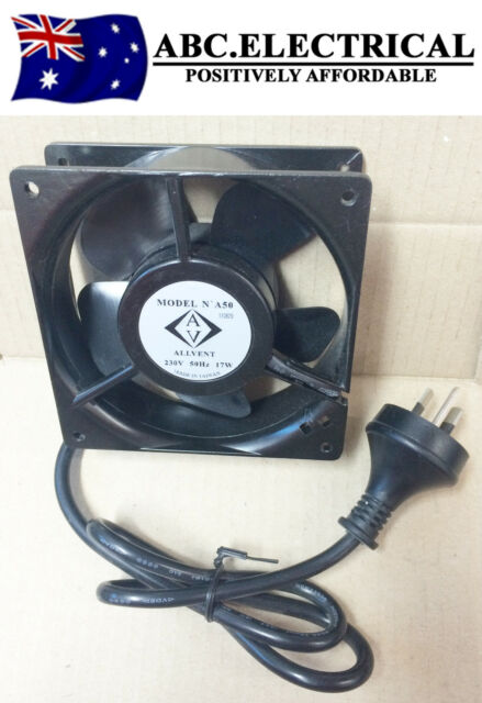 120mm x 38mm Black Cabinet Fan Cooling Axial Square Flat Inline Rack Case Metal
