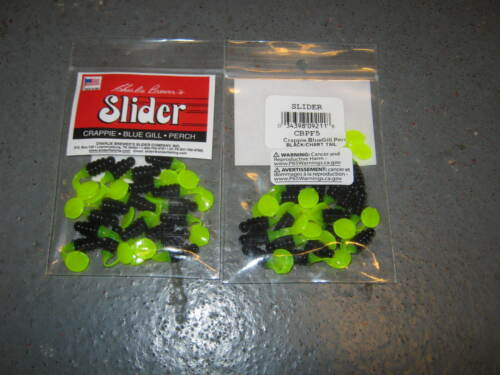 2 packs charlie brewer sliders cbpf5 blk//chart   1 inch crappie grubs