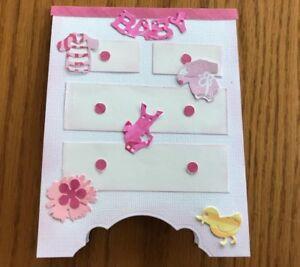 Baby-Girl-Card-Pink-White-Dresser-Clothes-Toys-FlowerHandmade