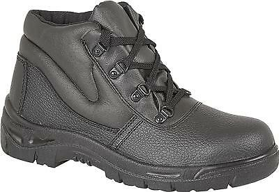 Grafters M5501A Unisex Mens Womens Leather S1 Steel Toe Safety Ankle Boots Black