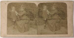 Madre-E-Figlio-Foto-Stereo-Amateur-PL46L3n-Vintage-Albumina-c1890