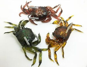 Artificial Crab Lure Lifelike Sinking Bait 2 Treble Hooks SEE PICTURES 6grm