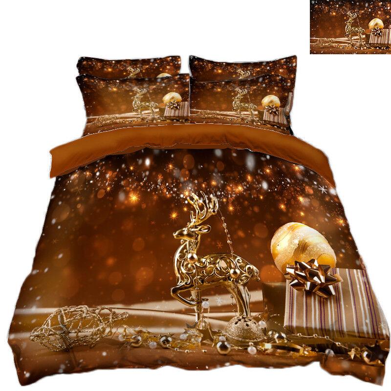 3D Christmas  Xmas 360 Bed Pillowcases Quilt Duvet Cover Set Single Queen King