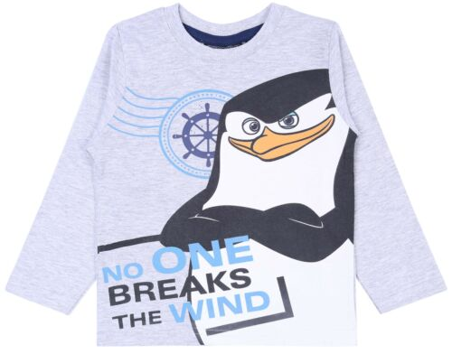 T-shirt For Boys THE PENGUINS OF MADAGASCAR Grey Long Sleeved Top