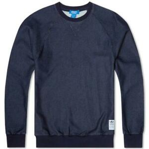 Indigo Cotton Trefoil Neck Sweater Men's Adidas Originals Details Navy About Denim Crew Smart MSUVqzp