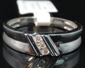 10k-White-Gold-Men-039-s-Three-Stone-Genuine-Round-Diamond-Wedding-Band-Ring-6mm