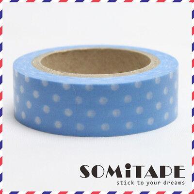 Craft Decorative Tape Blue With White Polkadot Washi Tape