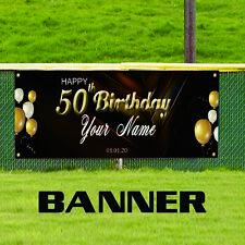 Happy 50th Birthday Customize Novelty Indoor Outdoor Vinyl Banner Sign