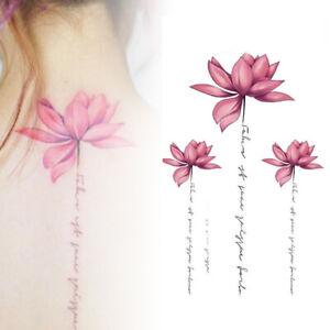af130c2b0 Image is loading Waterproof-Pink-Lotus-Flower-Tattoo -Stickers-Floral-Pattern-