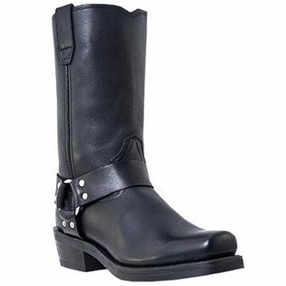 Dingo Dean DI19057 Mens Black Leather Harness Motorcycle Boots