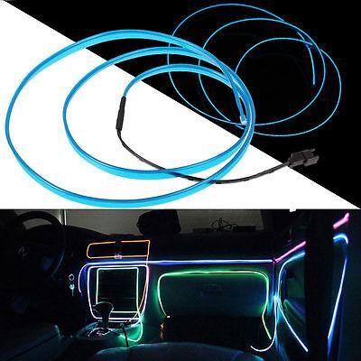 Blue LED 12 V Neon Light Glow EL Wire Rope Tube Car Decorative Light Strip New