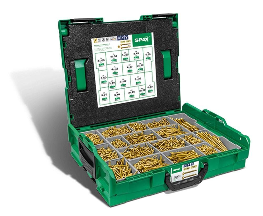 Spax Montagekoffer L-BOXX,Schraubenset mit 17 Abmessungen,Senkkopf,Pozi Gelb VZ