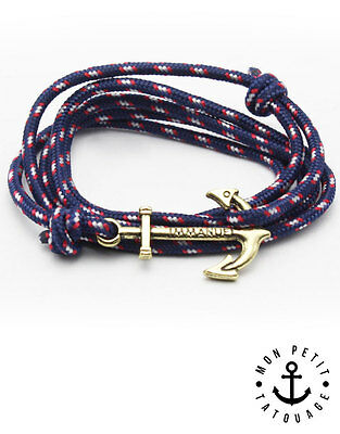 Bracelet mixte homme femme ancre marine BLEU Or Hope Anchor cordon immanuel
