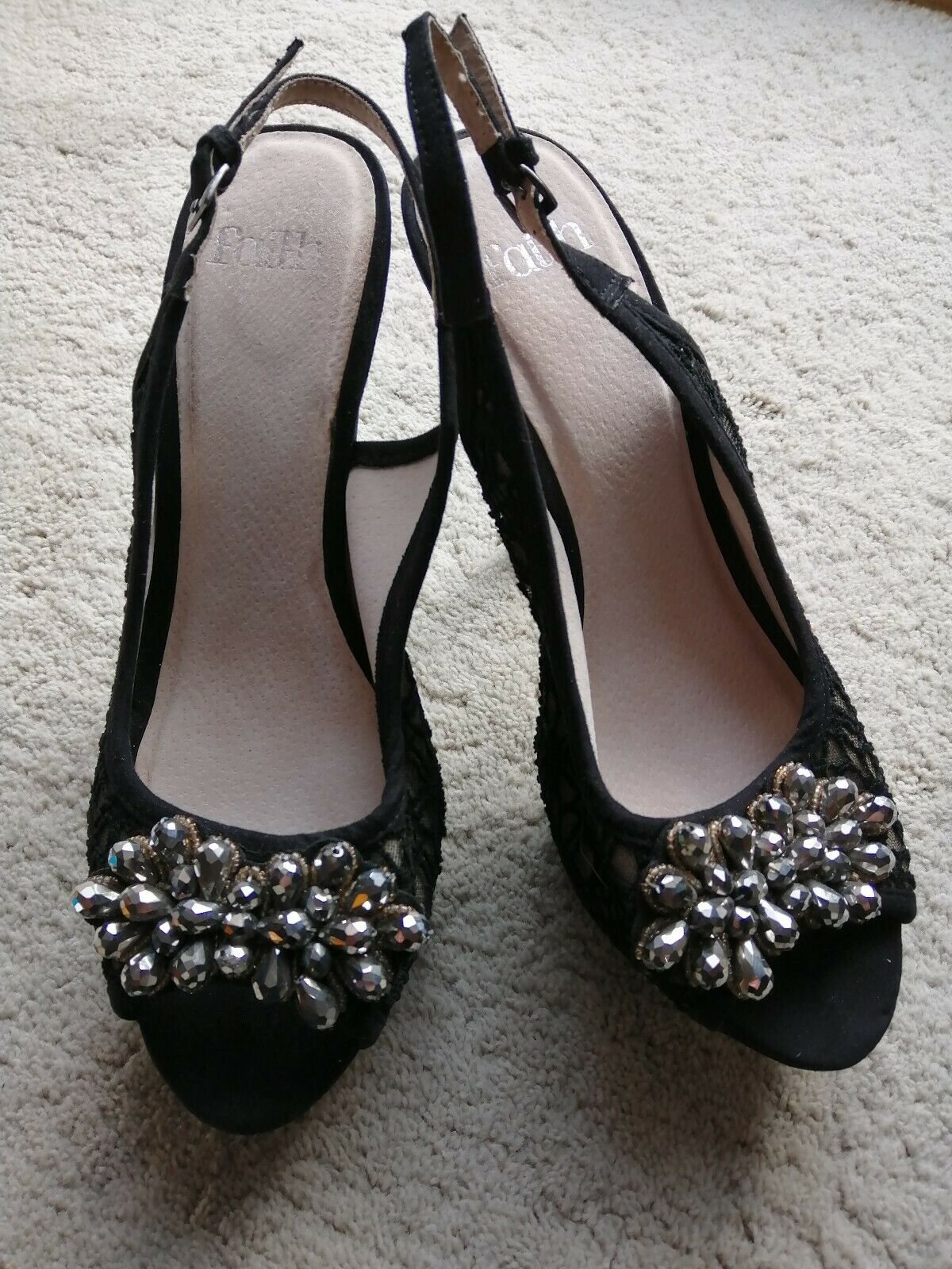 Faith Party   Occasion Open Toe Slingback Jewelled Stiletto Heel Sandals- Size 7