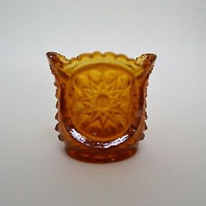 L-E-Smith-Toothpick-Holder-Star-Pattern-Oneata-Chimo-Amber-Glass