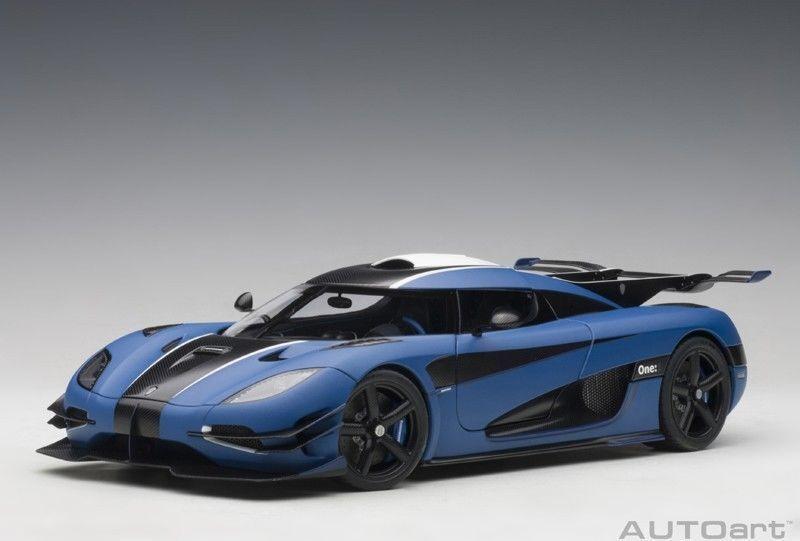 1 18 Autoart Koenigsegg One 1 Mate Imperial blu blu nero de Carbón