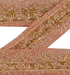 Good Vintage Sari Border Antique Hand Embroidered Indian Trim Ribbon Peach Lace Lace, Crochet & Doilies