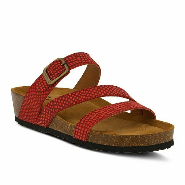 Spring Step Flossie Slide Nubuck Sandals Red