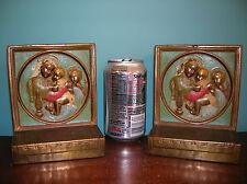 Antique Christian Catholic Madonna religious bookends Galvano Bronze orig. paint