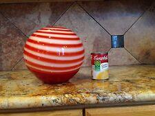 Peppermint Striped Art Deco Glass Large Bowl Vase Feng Shui Barber Shop Tip Jar