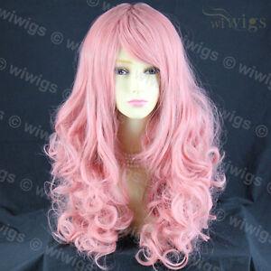 Stunning-Long-Curly-Milk-Pink-Ladies-Wigs-Skin-Top-Cosplay-Wavy-Wig-WIWIGS-UK