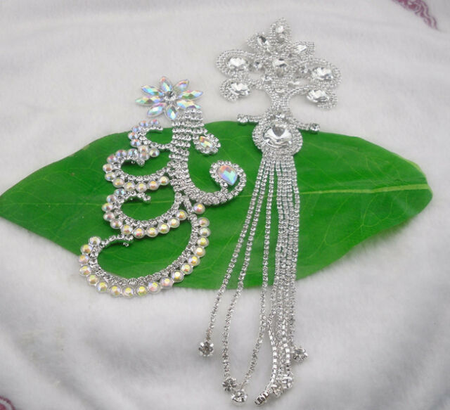 Diy beaded glass crystal clear AB rhinestone sew costume applique silver