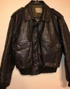 VINTAGE-Schott-Flight-Jacket-I-S-674-M-S-Brown-Leather-Bomber-Quilted-Lining-42