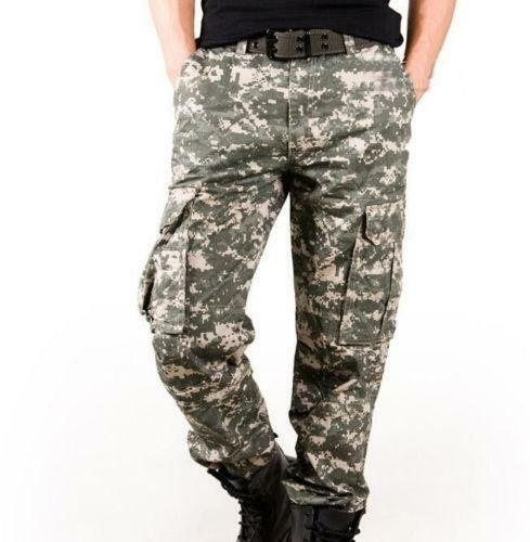 Mens Camouflage Cargo Pants Outdoor Military Tactical Combat Camo Pants Hot Sale
