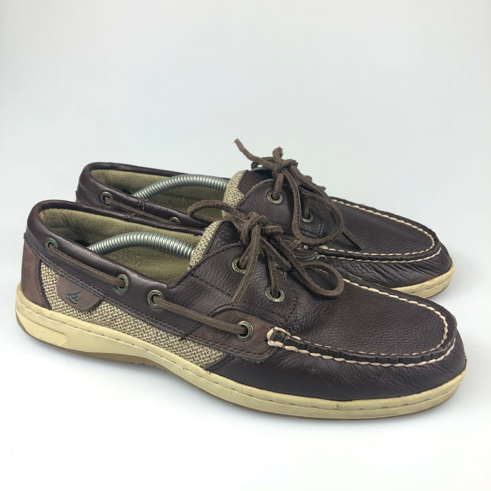 Sperry Womens Top-Sider 9173907 Brown Lace Up Casual Leather Boat Shoes Size 8