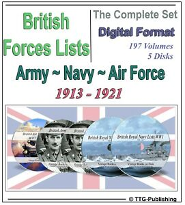 British World War 1 Army Navy RAF Lists - 5 DVDs - WW1 Medal