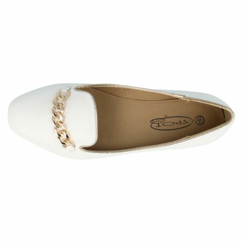 LADIES SPOT ON CHAIN DETAIL FLAT SLIP ON BALLERINA SMART LOAFERS SHOES F8R0015