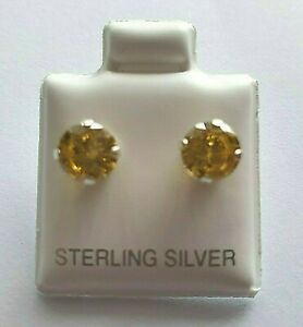 Sterling-Silver-CZ-Citrine-6mm-Stud-Earrings-925-Yellow-round-Cubic-Zirconia