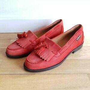 NEW-Russell-amp-Bromley-UK-4-5-Chester-Tassle-Loafers-Red-Suede-Leather-Shoes