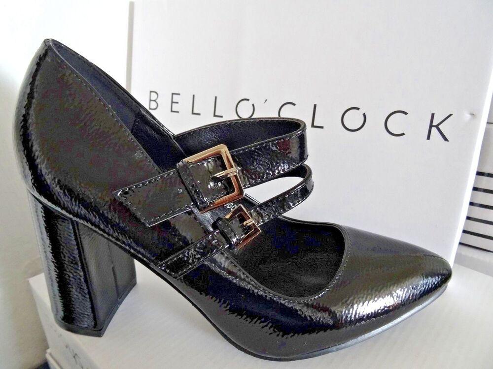 Designer Bout Pointu Et Talon Bottier Smart Escarpins Double Boucle Noir Taille 4