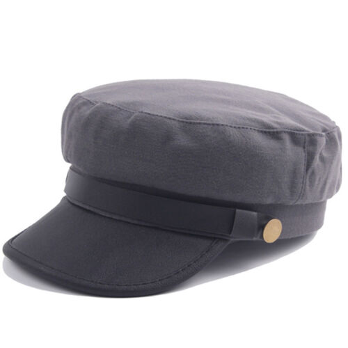 Mens Womens Military Army Leather Cap Sailor Combat Vintage Casual Flat Top Hats
