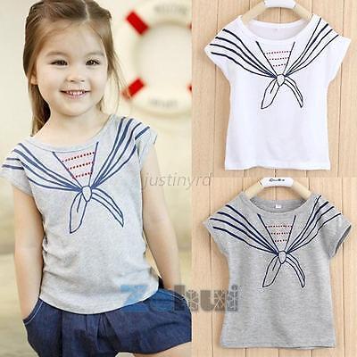 Casual Girls Kids Baby Tops T Shirts Tie Print Navy Short Sleeve Costume NEW J68
