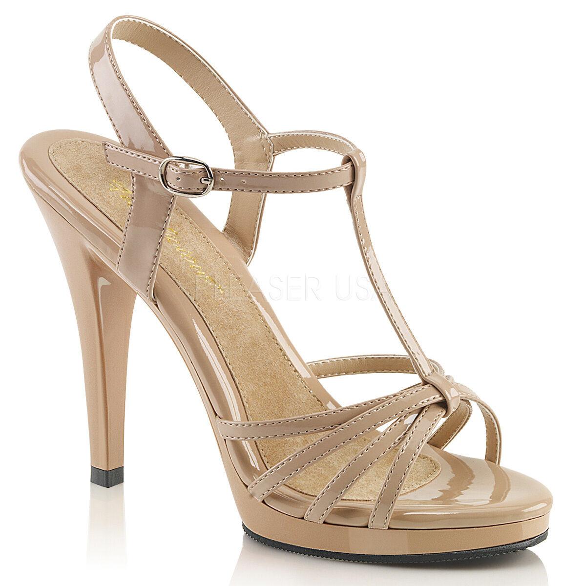 Damenschuhe Schuhes Größe 4 Nude Pleaser Flair-420 T-Strap Strappy Sandales High Heel New