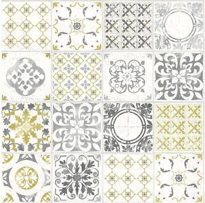 Image Is Loading Grandeco Porto Moroccan Tile Pattern Wallpaper Yellow Fl